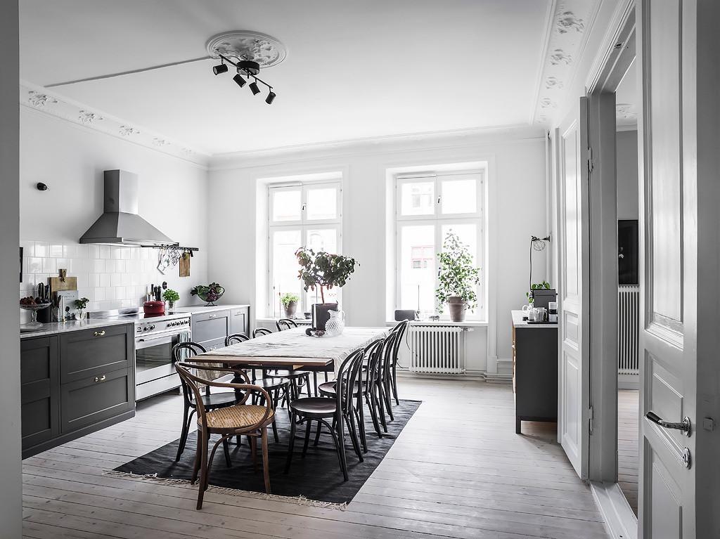 Cuisine Grise Avec Grande Salle A Manger Home Staging Deco Design