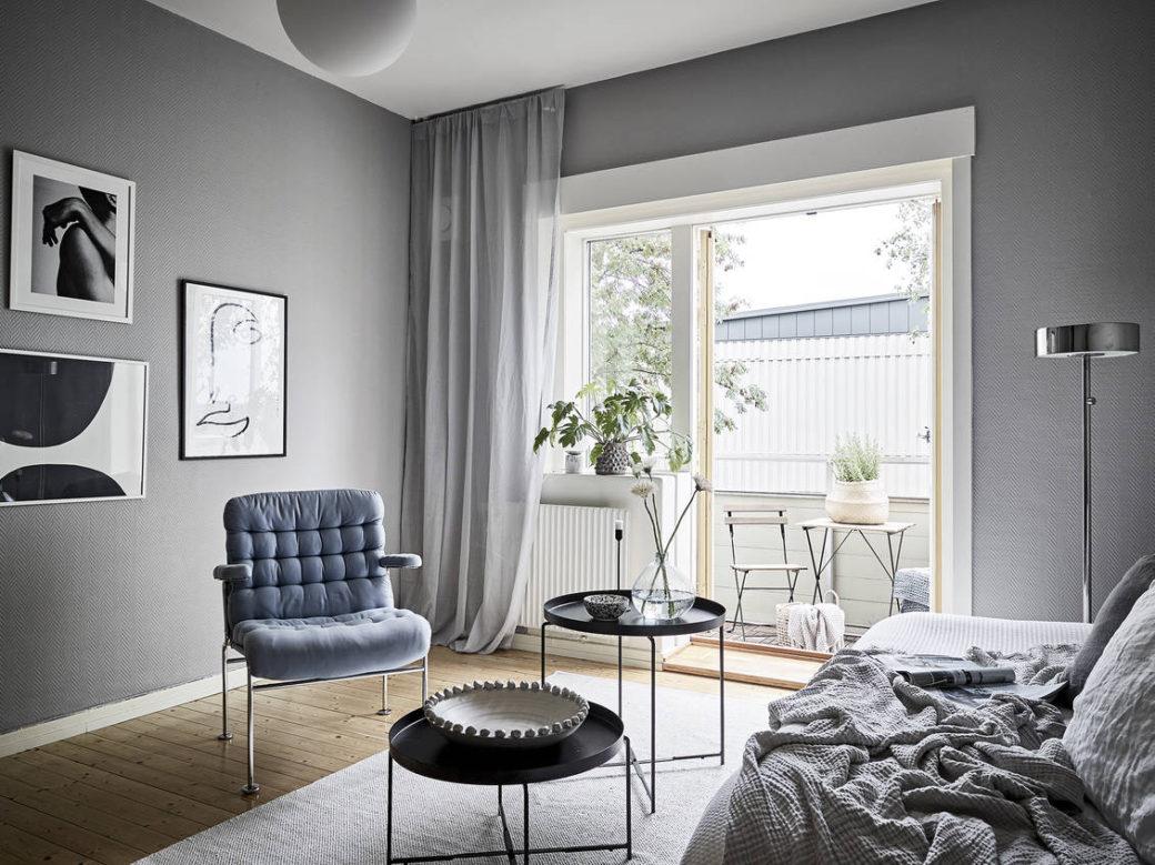 Salon bleu et gris - Home-staging Déco Design
