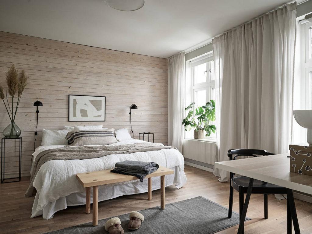 Chambre chaleureuse avec un joli bureau - Home-staging Déco Design